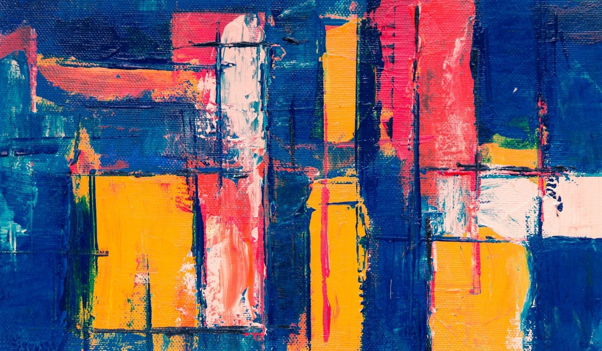 Abstract painting of yellow, blue and red blocks.